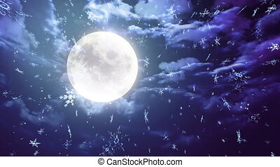 blue moon and snowflake - The background of snow flare...