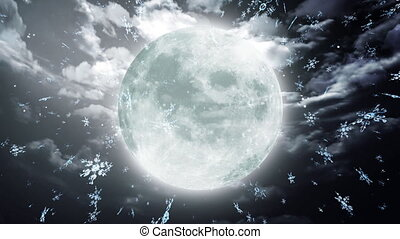 snow moon dark sky - The background of snow flare falling...