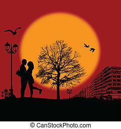 Romantic couple silhouette on cityscape - Romantic couple...