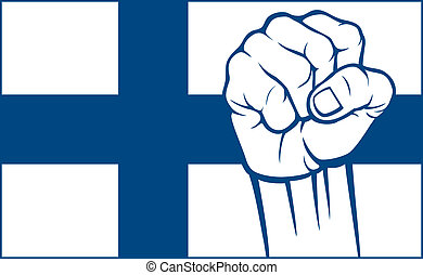 Finland fist flag of Finland