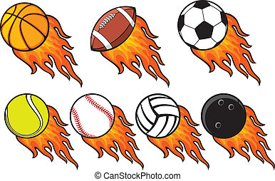 fire ball collection - tennis ball, american football ball,...