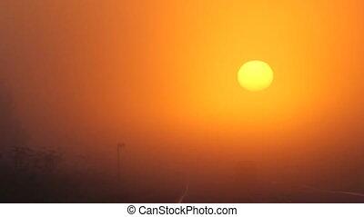 car at sun, sunrise