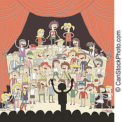 Funny school choir singing hand drawn illustration with...