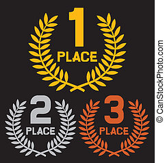 first place, second place and third place set of gold,...