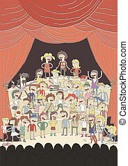 Funny school choir singing poster hand drawn illustration...
