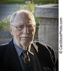 elegant senior gentleman portrait closeup