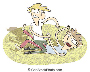 Small vignette illustration of two boys fighting....
