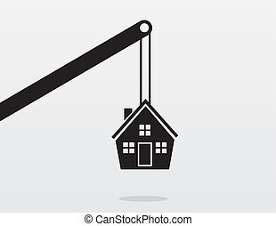 Crane House  - Crane lifting up house silhouette