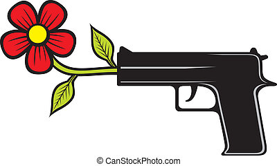 The gun shoots flowers (vector illustration of pacifist...