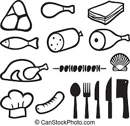 meat icons set, chef hat, knife, fork, spoon and meat...