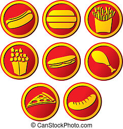 fast food icons - fast food icon hamburger, pizza, hot dog,...