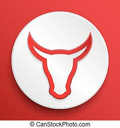 Vector bull head button symbol - Head cow button symbol on a...