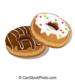 donuts - two donut isolated on white background
