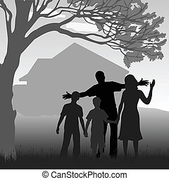 my family - silhouette of the family in the garden at the...