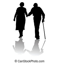 old people - silhouette of an old couple keeping for hands