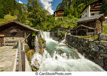 Mill - Summer landscape with mill on wild river, Tirol,...