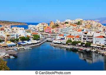 Crete - Agios Nikolaos, town on Crete island in Greece.