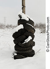 Used tires stacked