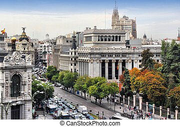 Madrid, capital city of Spain. Cityscape with Calle de...