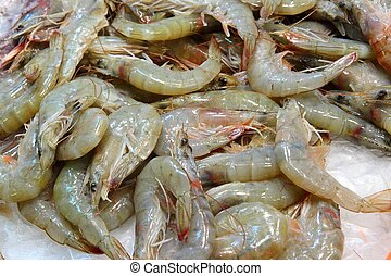 Langostino - Fish market at Boqueria market in Barcelona,...