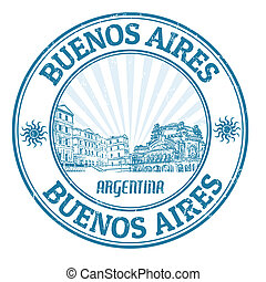 Buenos Aires stamp - Black grunge rubber stamp with the name...