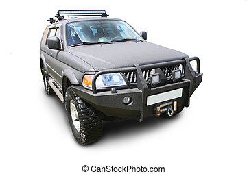 off-road car isolated - black off-road car isolated on the...