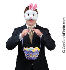 Easter Bunny Outfit 1 - Young man wearing suit with Easter...