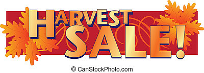 Harvest Sale Ad Starter - Harvest Sale words with colorful...