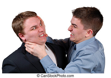 Man Being Strangled - Young man in a dress shirt strangling...
