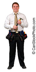 Businessman with Tool Bel - Man in business attire wearing a...