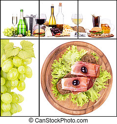 Set of different alcoholic drinks and food - beer, martini,...