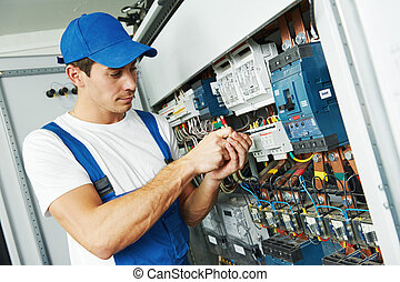 Adulto, electricista, ingeniero, trabajador