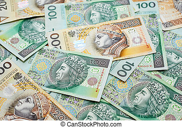 Polish currency banknotes zloty - Poland currency. Close-up...