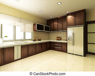 Interior kitchen. 3d