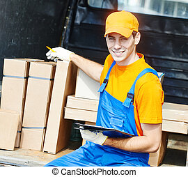 Delivery man with carton box