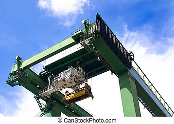 Port Equipments - Huge modern port operating machines in one...