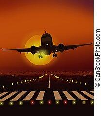 samolot, wpływy, od, bieżnia