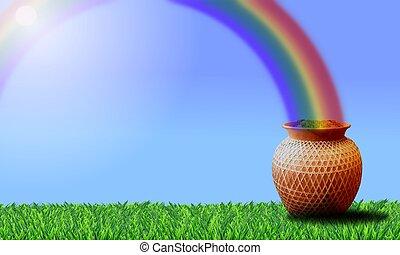 arco íris, pote, Ouro