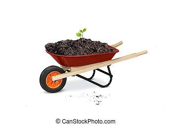 jardinagem, ferramentas, carrinho de mão