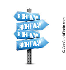 right way road sign illustration design