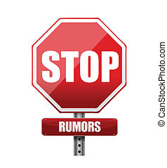 stop rumors road sign illustration design over white