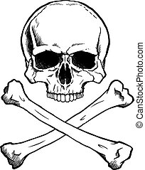Blackwhite human skull and crossbones - Black and white...