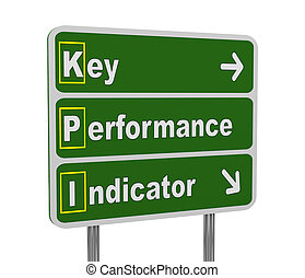 3d green road sign of kpi - 3d illustration of green...