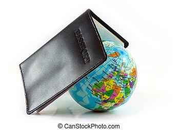 mundo, viaje, concepto, pasaporte
