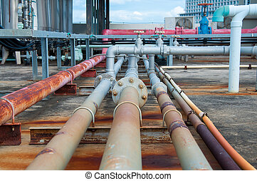 industrial pipes at plumbing on the building