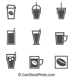 Coffee drinks icons collection on white background