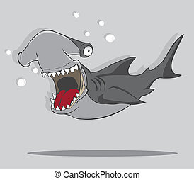 Cartoon Hammer fish shark vector and illustration