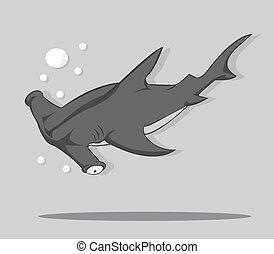 Cartoon Hammer fish shark