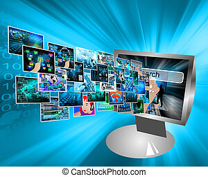 images in cyberspace - Abstract view of the many different...