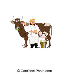 Happy Milkman with a jug of milk and a cow